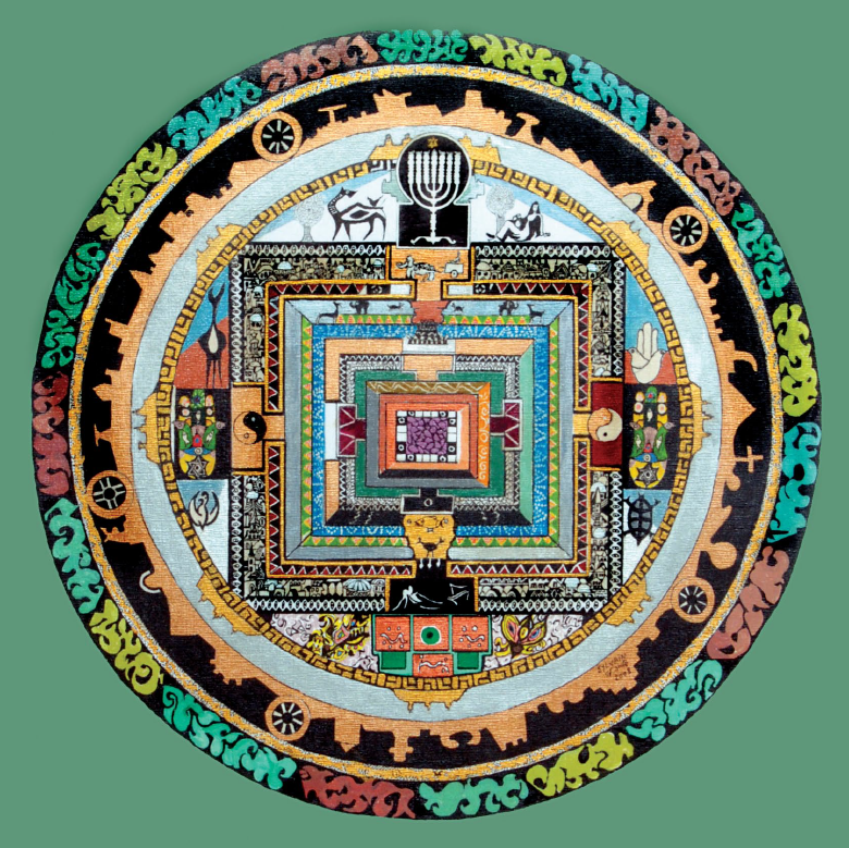 An individual entrapped in a mandala.